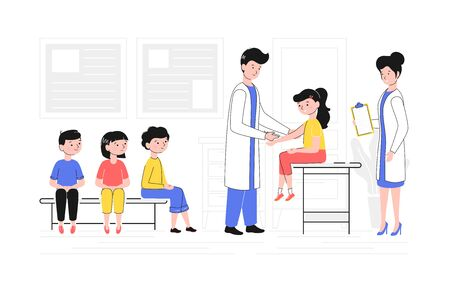 Cartoon Color Characters People and Children Vaccination Concept. Vector
