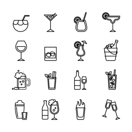 Beverage Sign Black Thin Line Icon Set Include of Cocktail, Martini, Beer and Liquor. Vector illustration of Icons