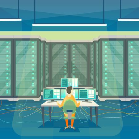 Cartoon Color Server Room Inside Interior and Admin. Vector