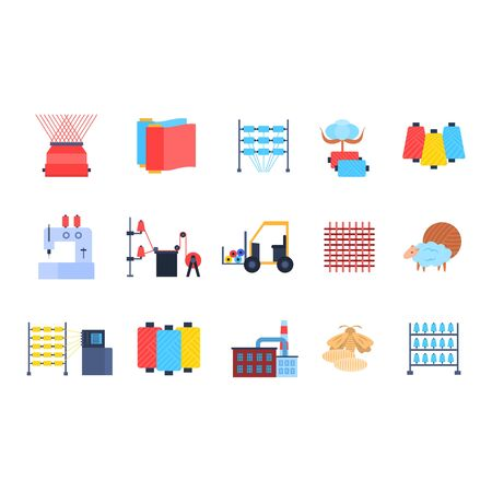 Cartoon Color Textile Factory Icon Set. Vector