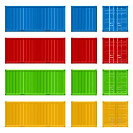 Conteneur de fret détaillé 3d réaliste situé sur une rangée pour l'expédition, le stockage et la livraison de l'industrie du transport de marchandises. Illustration vectorielle