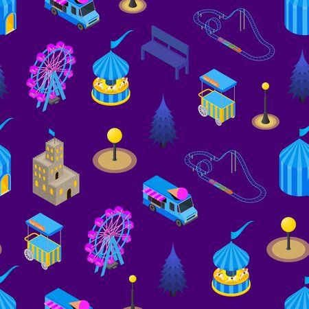 Amusement Park Concept Seamless Pattern Background 3d Isometric View. Vector