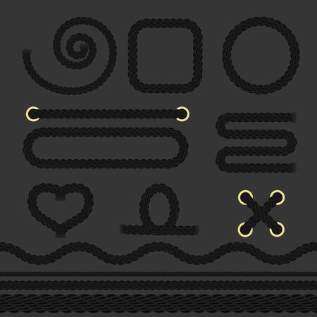 Black Nautical Rope Set on a Dark Background. Vector