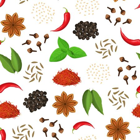 Realistic 3d Detailed Classic Spices Seamless Pattern Background Include of Clove, Chili Pepper, Anise Star, Cumin and Saffron. Vector illustration of Condiment Vektoros illusztráció