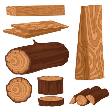 Cartoon Color Wood Industry Raw Materials Icons Set. Vector