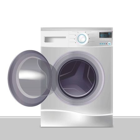 Realistic Detailed 3d Wash Machine Front View. Vector