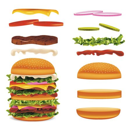 Realistic Detailed 3d Burger with Elements Set. Vector