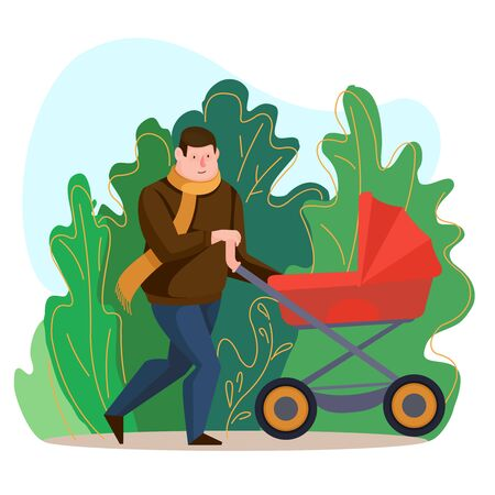 Cartoon Color Character Person Male Father with Pram Concept. Vector Vettoriali