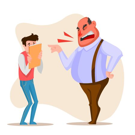 Cartoon Color Character Person Male Angry Boss Concept. Vector