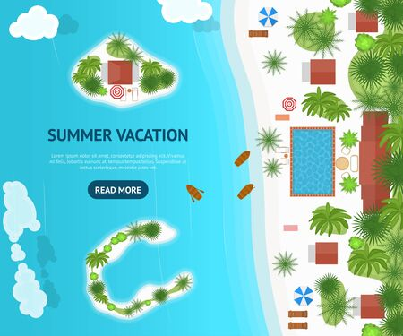 Cartoon Summer Cruise Vacation Concept Card Poster. Vector Иллюстрация