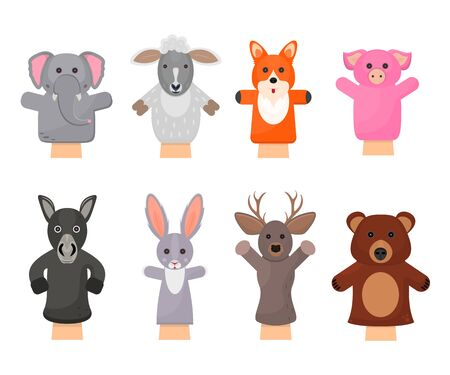 Cartoon Color Hand Puppets Play Doll Icons Set. Vector
