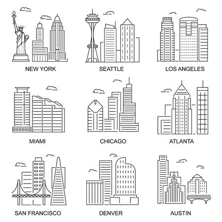 Usa Cities Sign Contour Linear Icon Set. Vector Ilustracje wektorowe