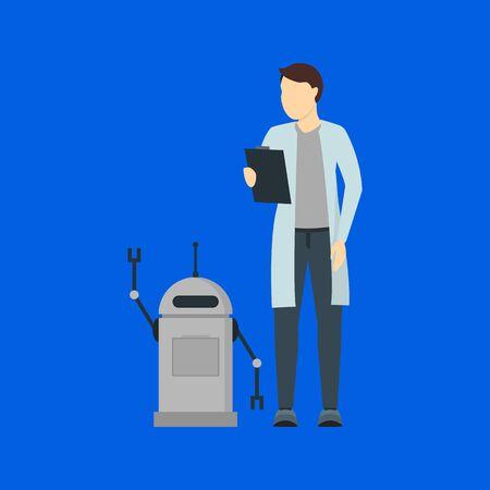 Cartoon Color Character Person Male Artificial Intelligence Scientist Concept. Vector Vectores