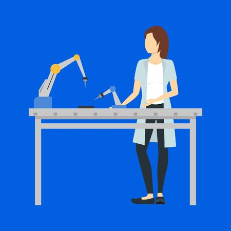 Cartoon Color Character Person Female and Laboratory Concept. Vector
