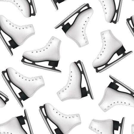 Realistic 3d Detailed Figure Skates Seamless Pattern Background. Vector