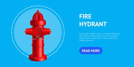 Realistic 3d Detailed Red Fire Hydrant Card. Vector