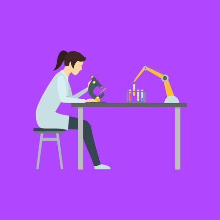 Cartoon Color Character Person Female with a Microscope Concept. Vector