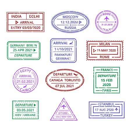 Travel Visa Stamp Sign Color Thin Line Icon Set. Vector
