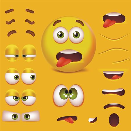 Realistic Detailed 3d Smiley Face Character Creation Constructor Set. Vector