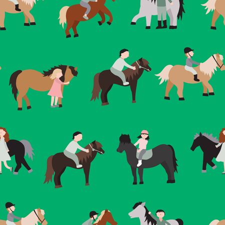 Cartoon Characters Kids Riding Ponies Seamless Pattern Background. Vector