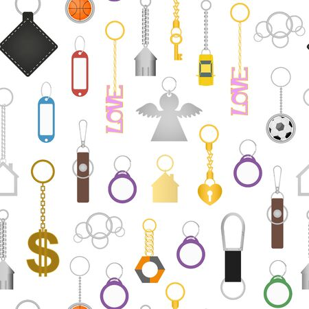 Cartoon Color Keychains Seamless Pattern Background . Vector