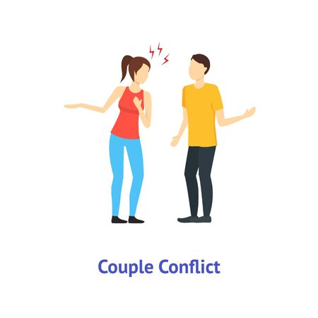 Cartoon Color Characters People Couple Conflict. Vector
