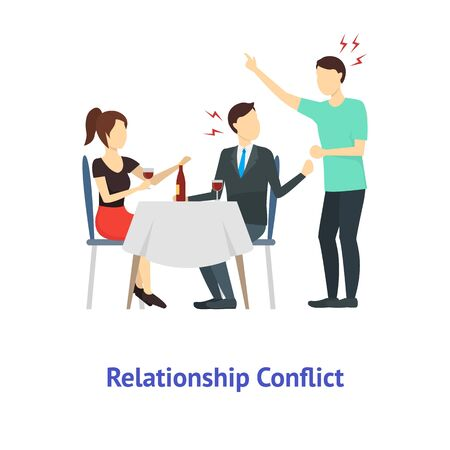 Cartoon Color Characters People Relationship Conflict. Vector 向量圖像