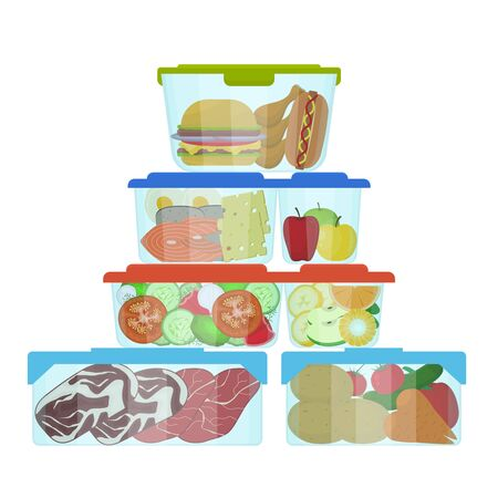 Cartoon Color Plastic Containers with Food Set. Vector