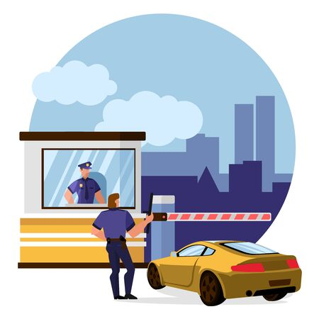 Cartoon Color Characters People and Protect Toll Booth Concept. Vector 向量圖像