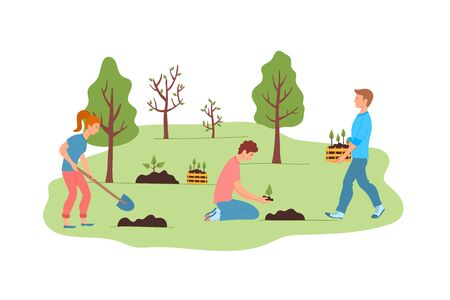 Cartoon Color Characters People Forest Restoration Concept. Vector