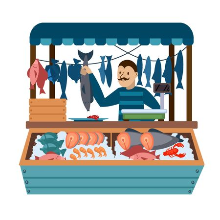 Cartoon Color Character Person Male and Food Market Fish Concept. Vector