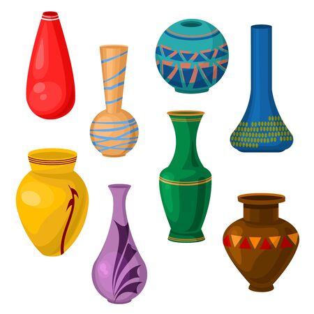 Cartoon Color Ceramic Vase Icon Set. Vector Vettoriali