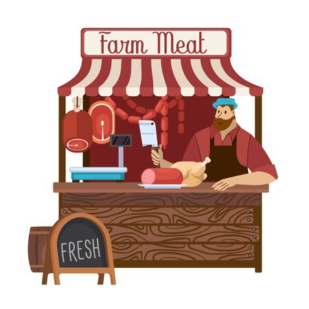 Cartoon Color Character Person Male and Food Market Farm Meat Concept. Vector