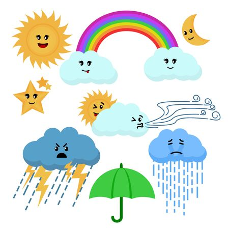 Cartoon Color Cute Weather Sign Icon Set. Vector Vettoriali