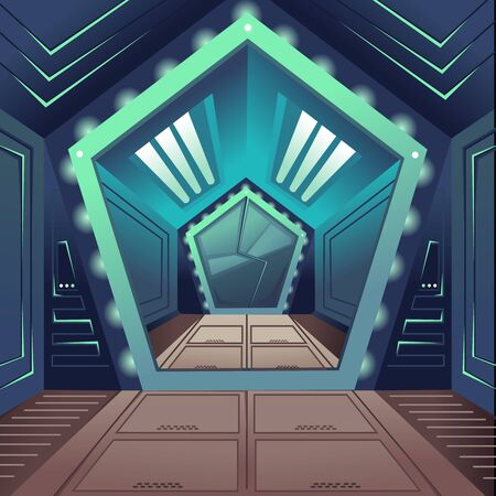 Cartoon Color Hallway Door Spaceship Interior Inside Concept.