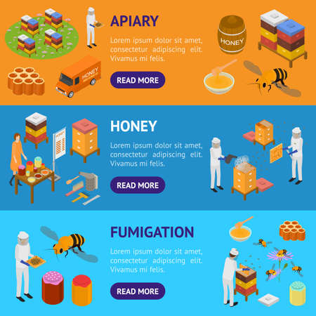 Apiary Concept Banner Horizontal Set 3d Isometric View. Vector