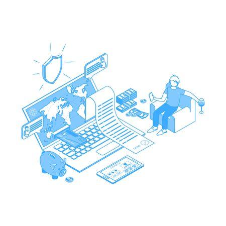 Online Banking Concept Contour Linear Style. Vector Stock Illustratie