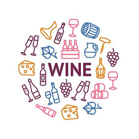 Wine Thin Line Concept Round Design Template Banner. Vector 일러스트