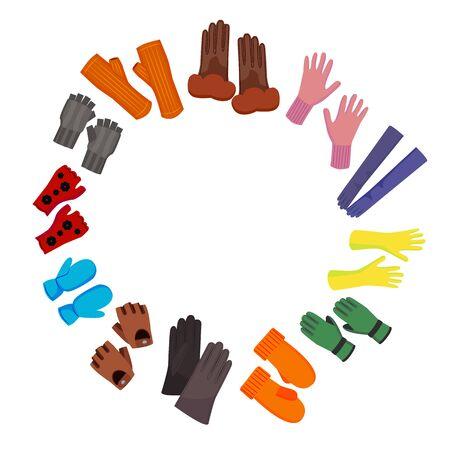 Cartoon Color Woolen Mittens Concept Round Design Template. Vector