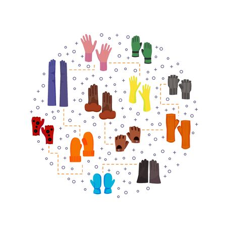 Cartoon Color Woolen Mittens Concept Design Template Banner. Vector