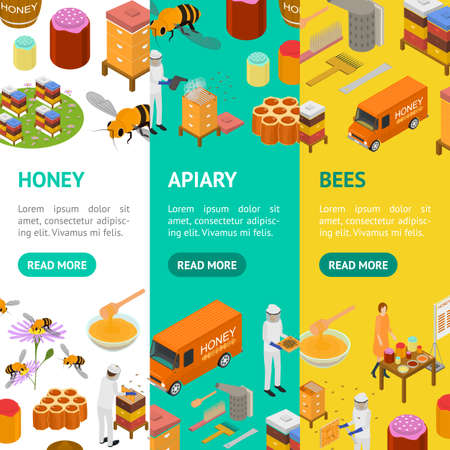 Apiary Concept Banner Vecrtical Set 3d Isometric View. Vector