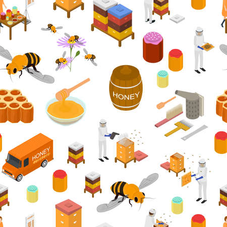 Apiary Concept Seamless Pattern Background 3d Isometric View. Vector Stock Illustratie