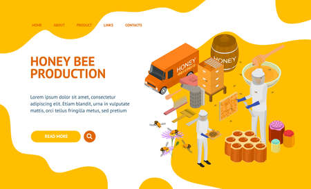 Apiary Concept Landing Web Page 3d Isometric View. Vector