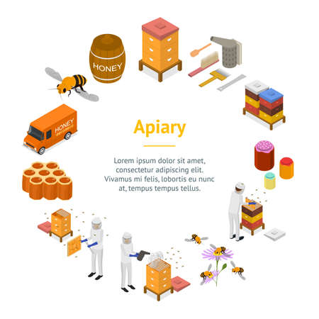 Apiary Concept Banner Card Circle 3d Isometric View. Vector