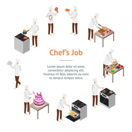 Character Chef Cooks Concept Banner Card Circle 3d Isometric View. Vector