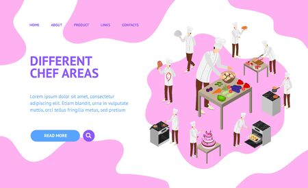 Character Chef Cooks Concept Landing Web Page 3d Isometric View. Vector Stock Illustratie