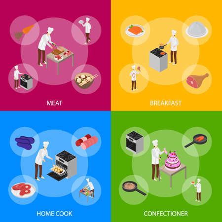Character Chef Cooks Concept Banner Set 3d Isometric View. Vector