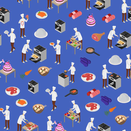 Character Chef Cooks Concept Seamless Pattern Background 3d Isometric View. Vector