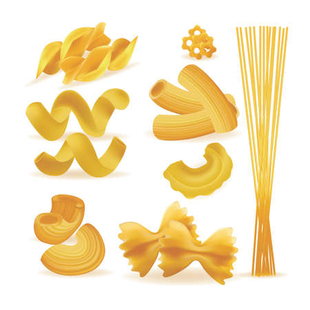 Realistic Detailed 3d Pasta Noodles and Macaroni Set. Vector