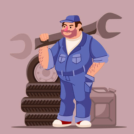 Cartoon Color Character Person Male Mechanic Concept. Vector 일러스트